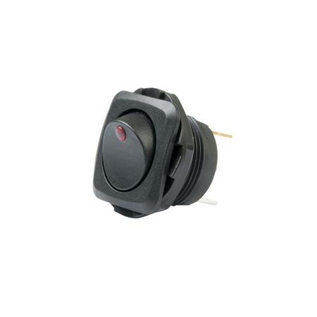 LED Illuminated, Round Hole Rocker Switch - Red