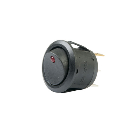 LED Round Rocker - DC Switch - Red