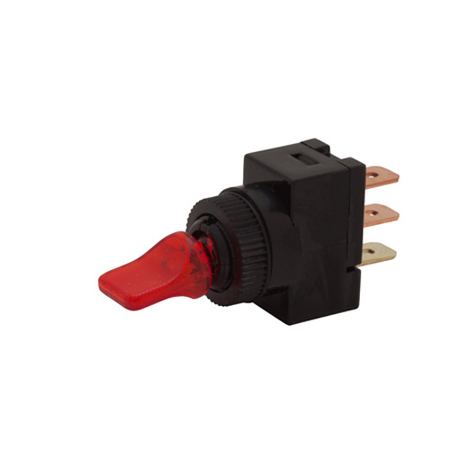 Illuminated LED Duckbill Toggle Switch - Red