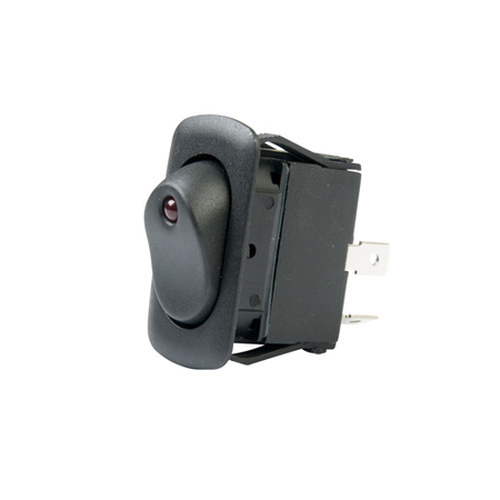 LED Illuminated Single Pole Euro-style Rocker Switch - Red