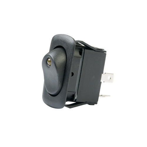 LED Illuminated Single Pole Euro-style Rocker Switch - Amber