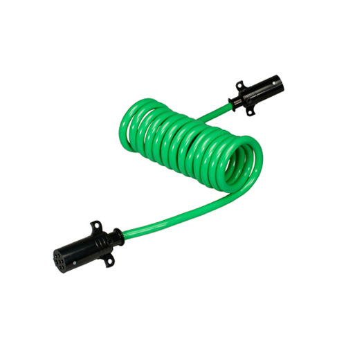 Trailer Coiled Electrical Cables : Way coiled trailer connectors